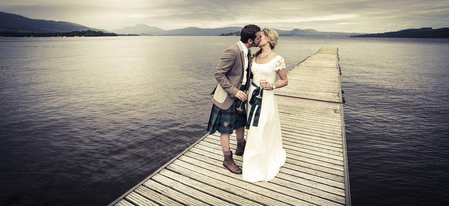 Wedding photographs at the Cruin on Loch Lomond, Scotland