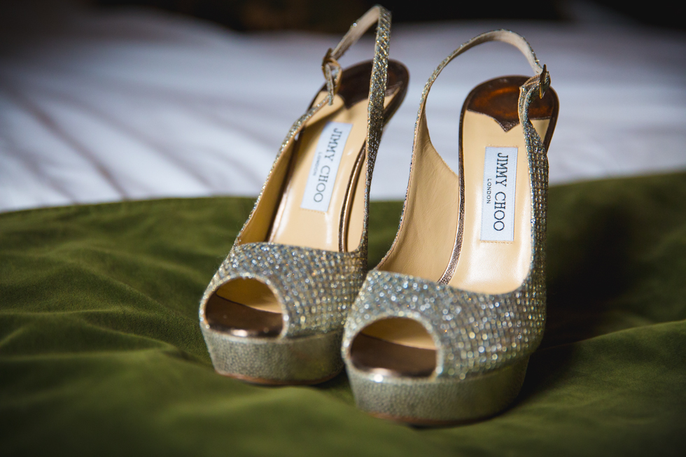 Winter wedding in Glasgow, Scotland. Jimmy Choo Wedding Shoes.