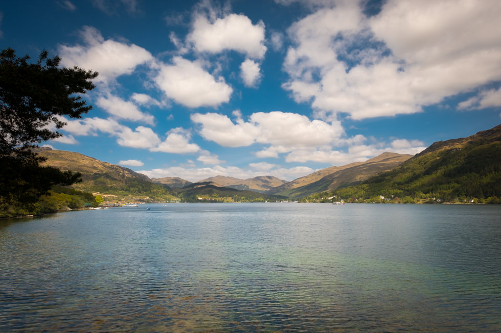 Lodge on Loch Goil Wedding. View of Loch Goil on a sunny day.