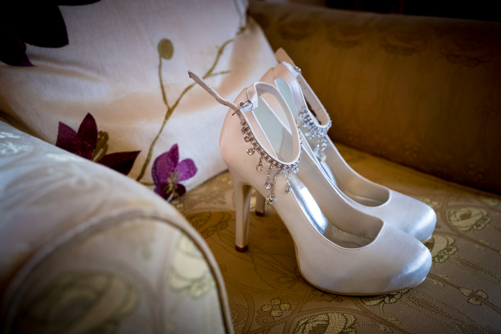 Lodge on Loch Goil Wedding. Wedding shoes at the Lodge on Loch Goil.