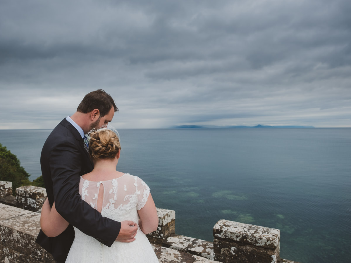 Wedding Culzean Castle. Bride and Groom looking out over the sea.