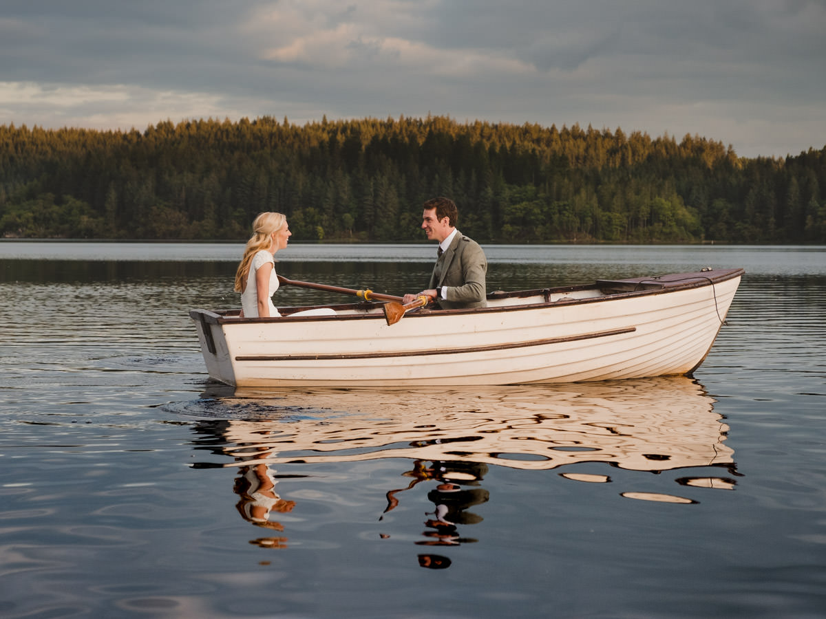 Altskeith Wedding Photographer - Bride and Groom on a Boat on Loch Ard