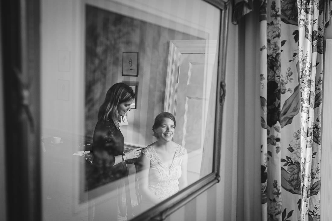 Culzean Castle Wedding Bride reflected in mirror