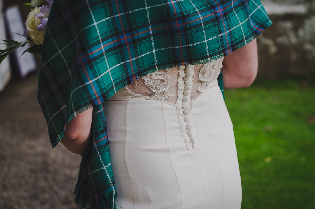 Culzean Castle Wedding Tartan Shawl and Temperley Dress