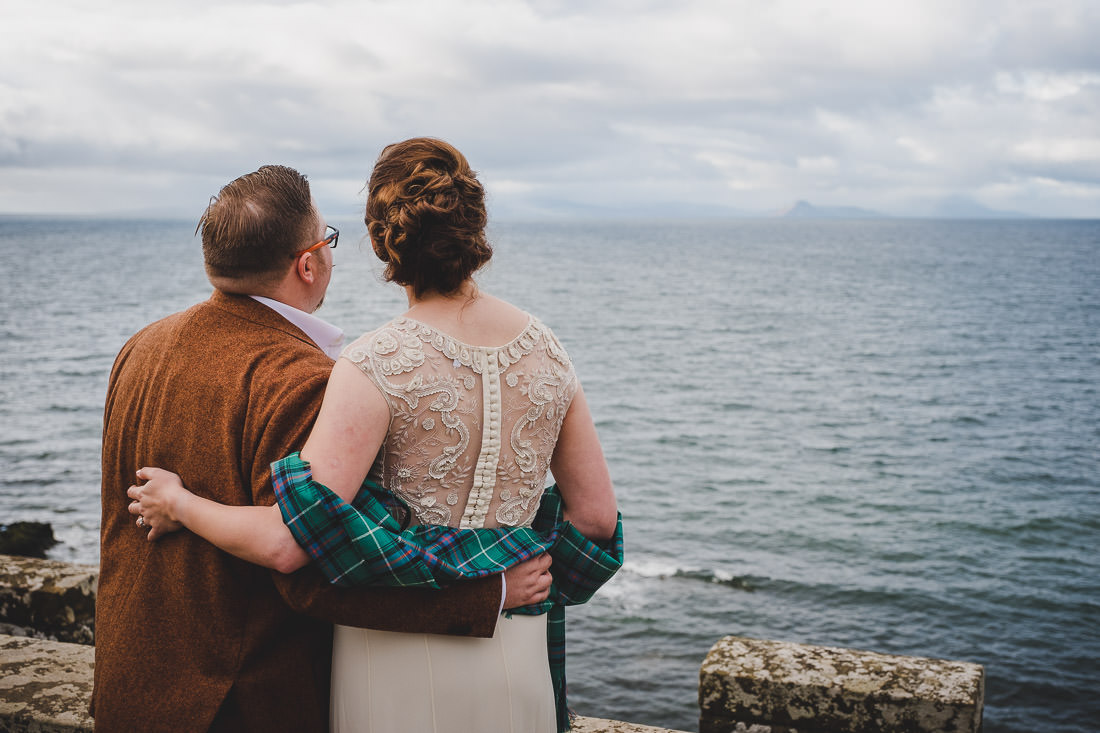 Culzean Castle Wedding Bride and Groom Looking out to Sea