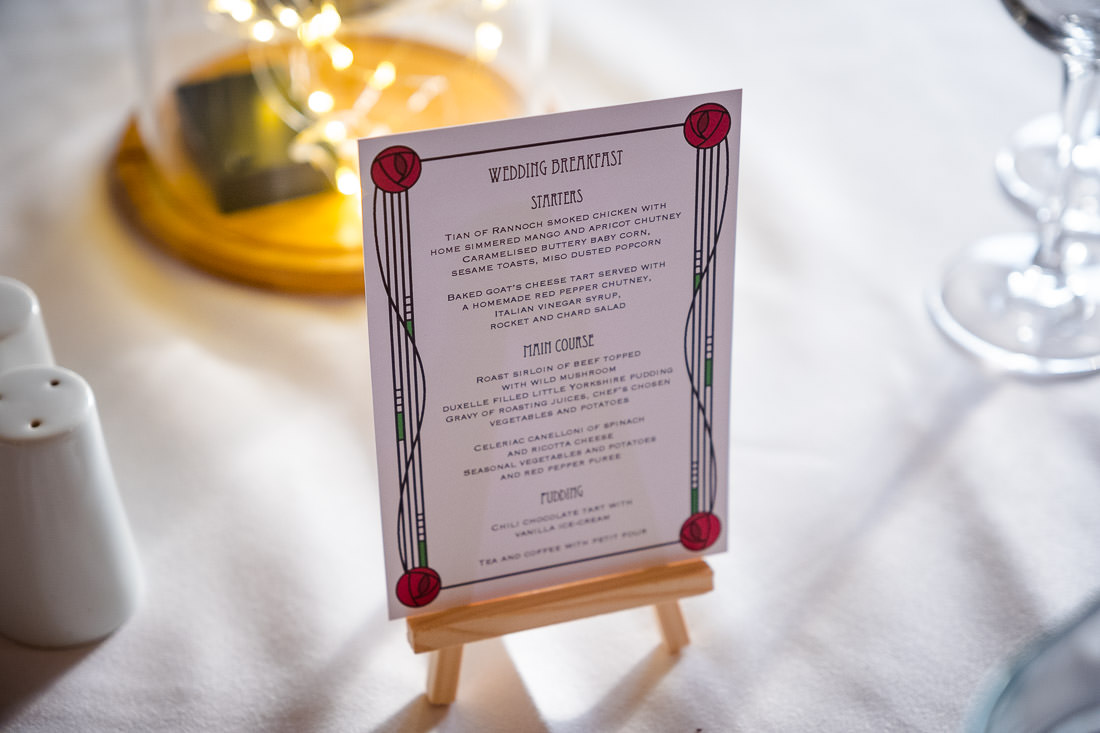 Macintosh Style Menu Card Wedding