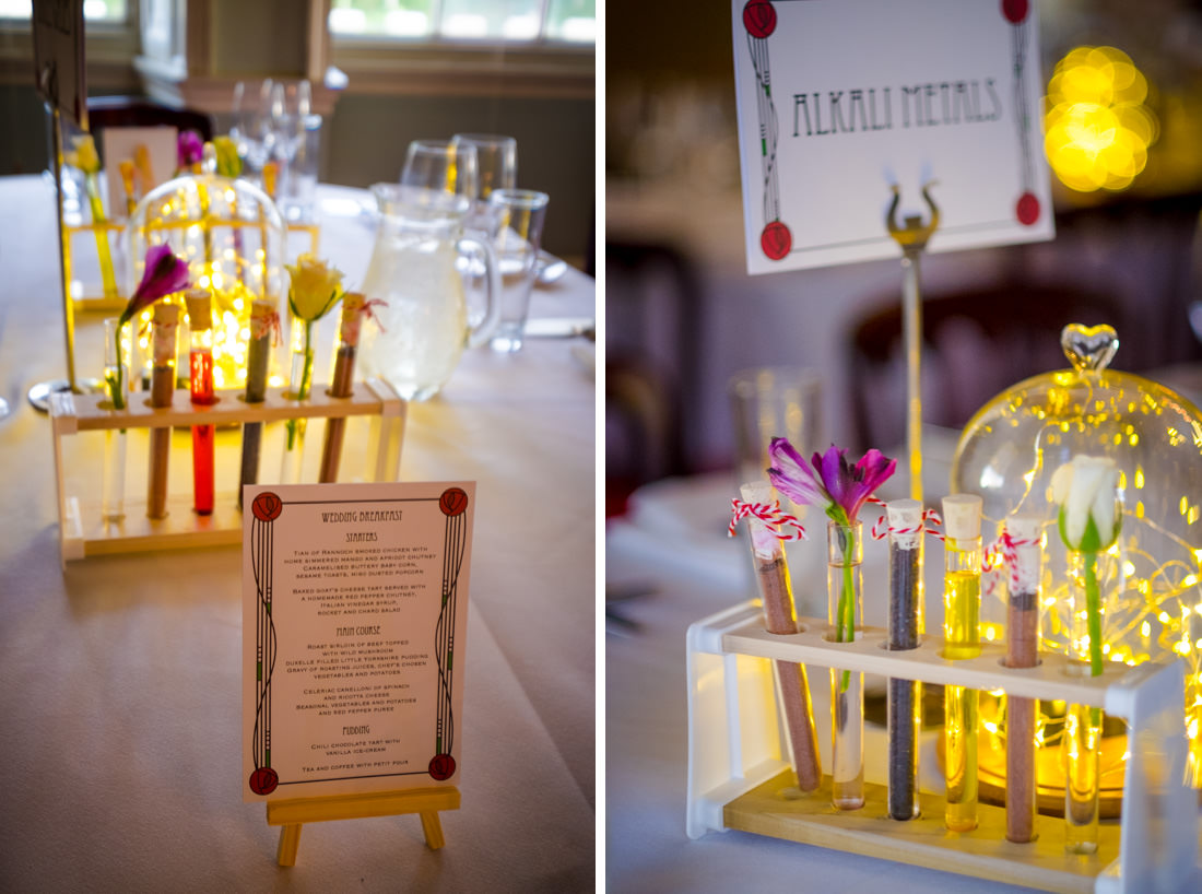 Culzean Castle Wedding Test Tube Science Table Decorations