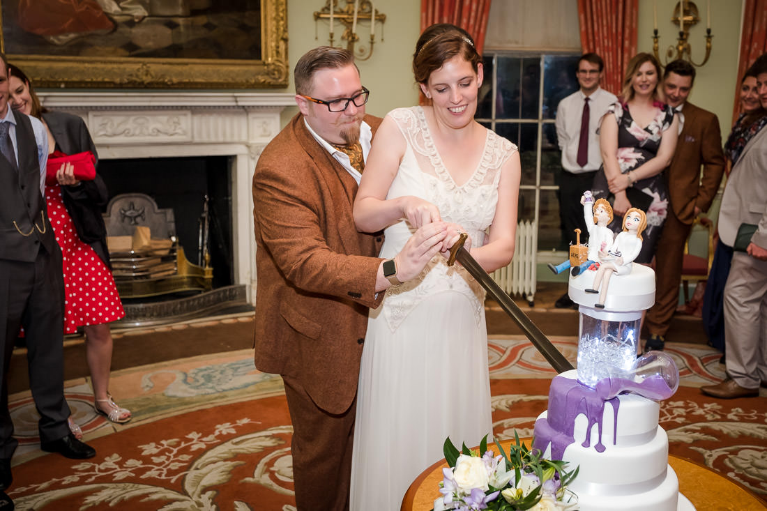 Culzean Castle Wedding Bride and Groom Cutting Cake
