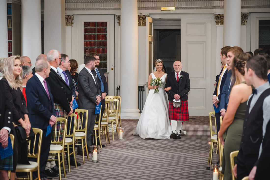 Signet Library Wedding - Bride and her father walking up the aisle.