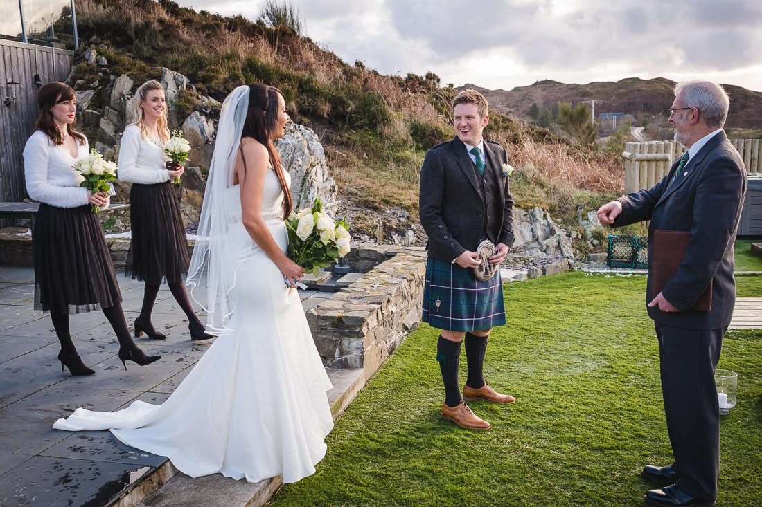 Winter Elopement Arisaig - bride and groom first look