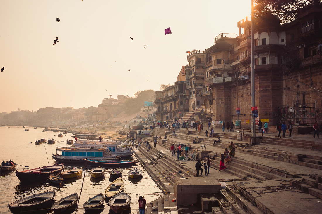View south along the river Ganges in Varanasi