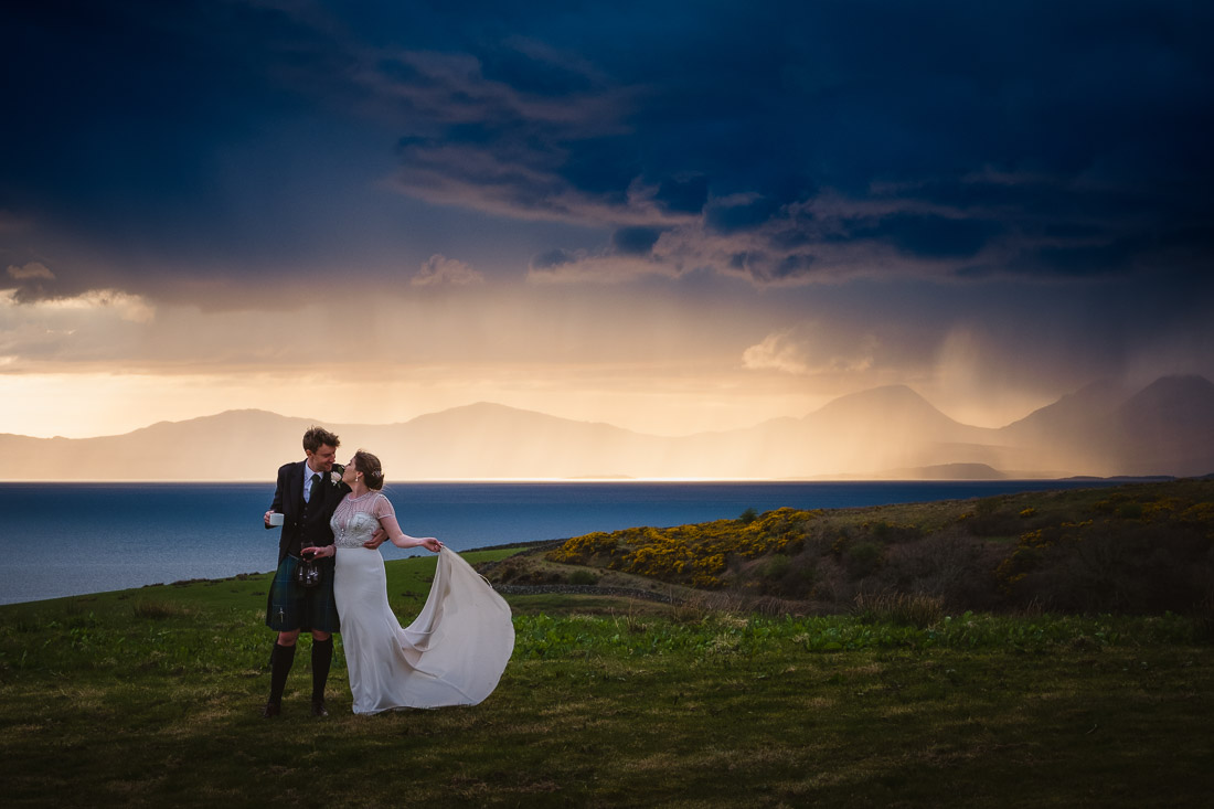 Crear Wedding Scenic shot bride groom Jura Islay