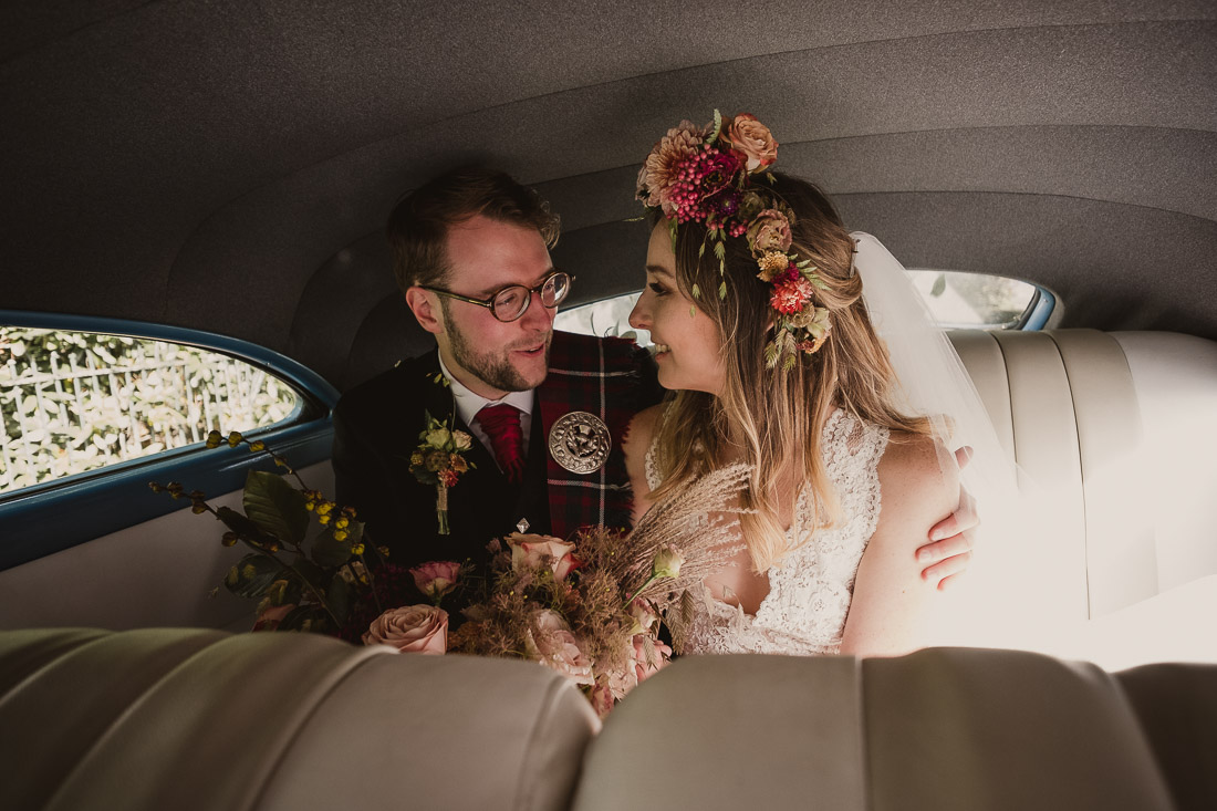 Bride and Groom inside Wedding Car Vintage Vinok