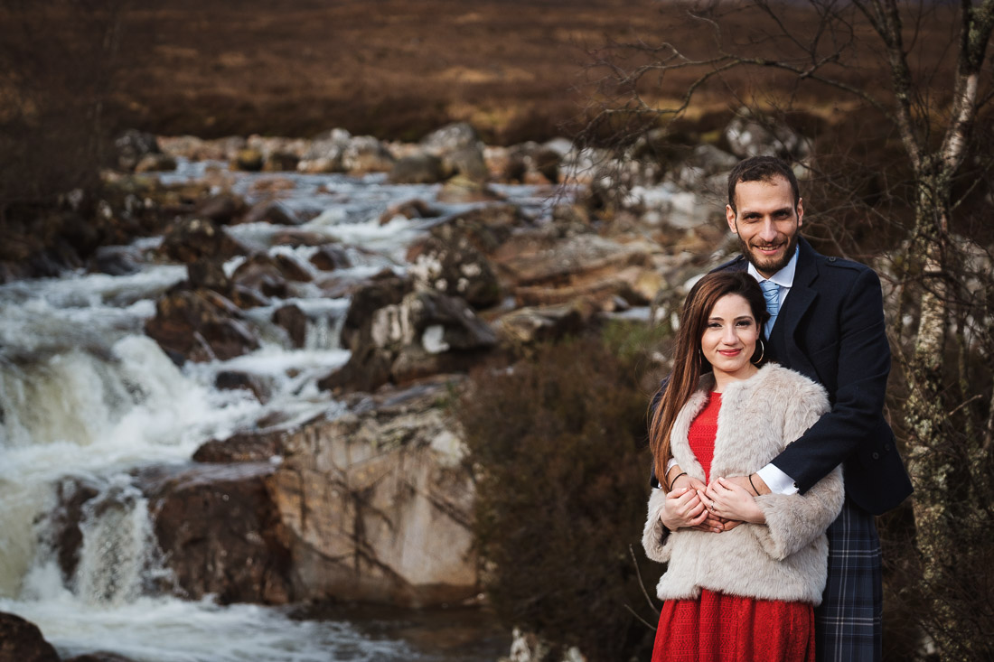 glencoe engagement photoshoot stob dearg Etive waterfall