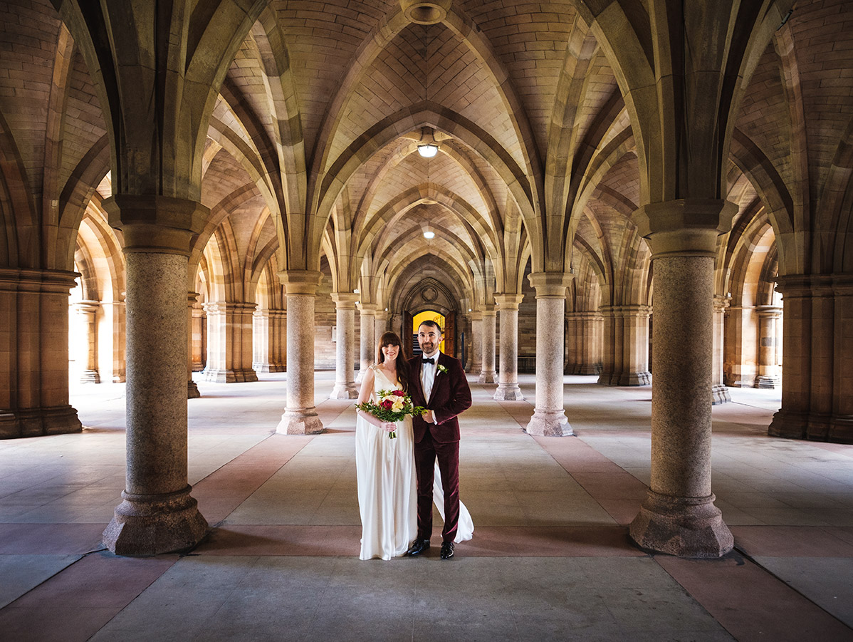 Small weddings are great Glasgow University cloisters